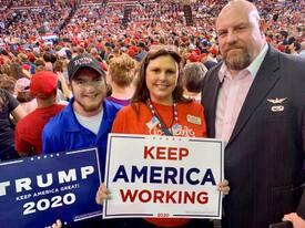 At the Lake Charles, La. Trump Rally with my wife and son Michael 2019